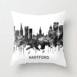 Hartford Connecticut Skyline BW Throw Pillow