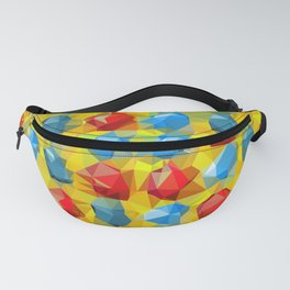 geometric polygon abstract pattern yellow blue red Fanny Pack