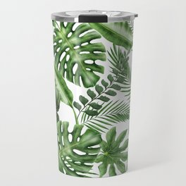 Tropical Leaves Pattern - Monstera and Banana Leaves Travel Mug