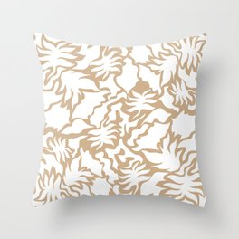 Minimal Shapes Peach Skintone Fall Palm Leaf Pattern Digital Art Print Throw Pillow