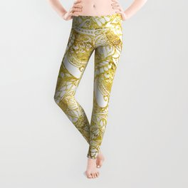 Elegant chic gold foil hand drawn floral pattern Leggings