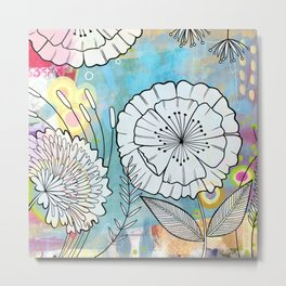 Petunia and Aster Metal Print