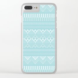 Weave (blue) Clear iPhone Case