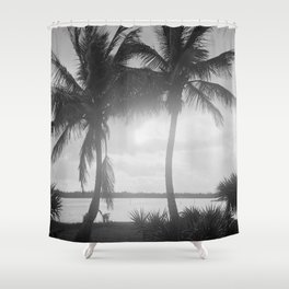 Black and White Florida Palm Trees Photograph (1915) Shower Curtain