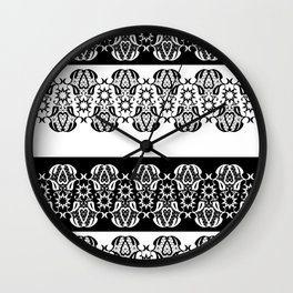 Black and white lace pattern . Wall Clock