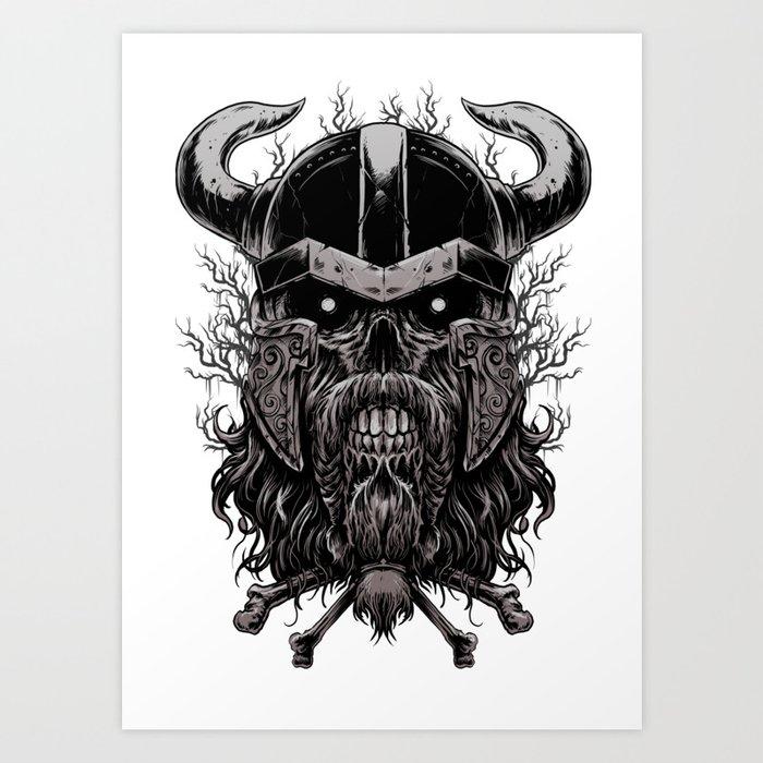 95cb14c793434 Viking Skull | Warrior Odin Illustration Art Print by anziehend ...
