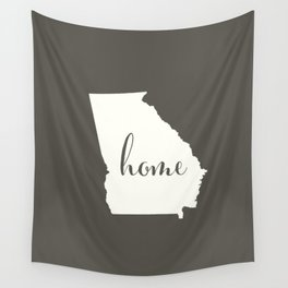 Georgia is Home - White on Charcoal Wall Tapestry