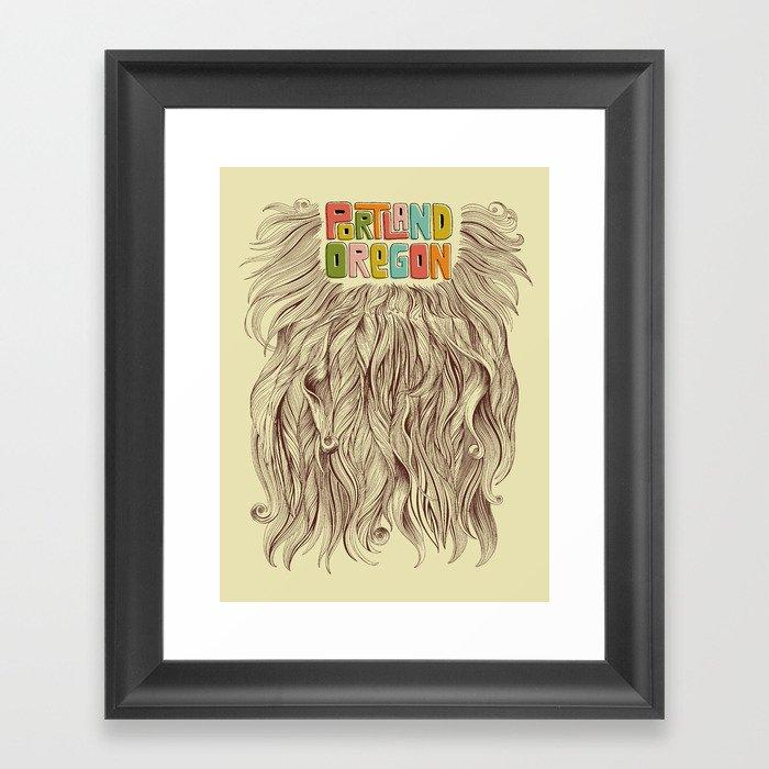 Portland = Beards Framed Art Print