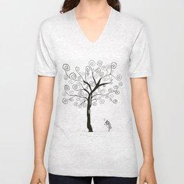 bird, music and tree Unisex V-Neck