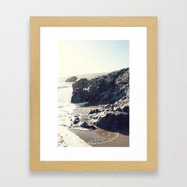 the beach in Cayucos Framed Art Print
