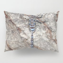 blue dragonfly on wood Pillow Sham