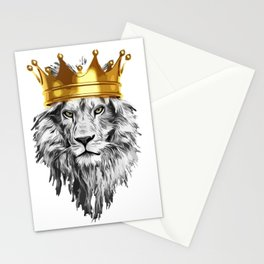 lion with a crown power king Stationery Cards