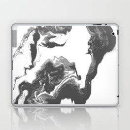 Somi - spilled ink black and white marble patterned painting watercolor abstract art Laptop & iPad Skin