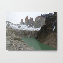 Torres del Paine Cloudy Metal Print