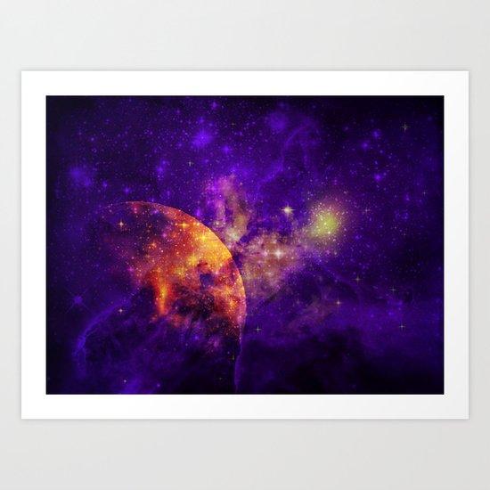 Planet, Nebula and Stars Art Print