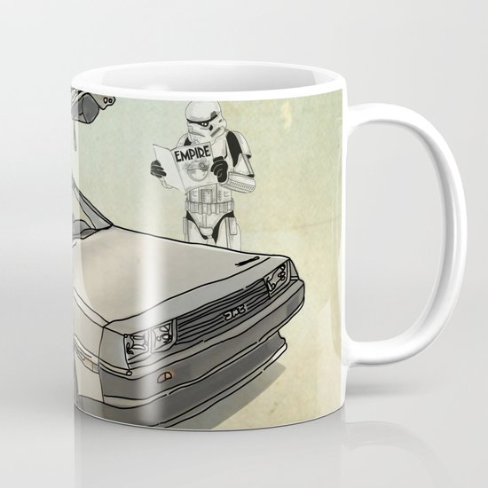 Lost, searching for the DeathStarr _ 2 Stormtrooopers in a DeLorean  Mug
