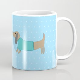 Cute dogs in love with dots in blue background Coffee Mug