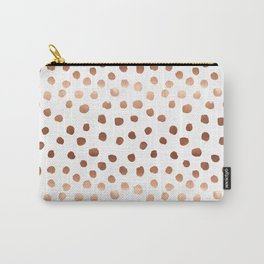 Rose Gold copper sparkle modern dots polka dots rosegold trendy pattern cell phone accessories Carry-All Pouch