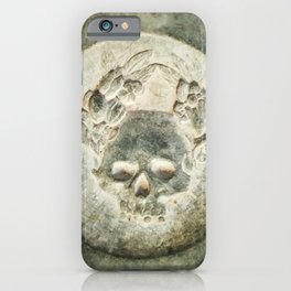 Mysterious stone skull iPhone Case