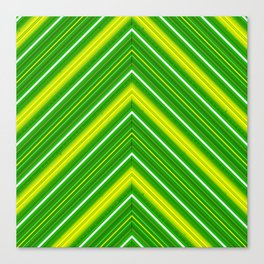 Modern Diagonal Chevron Stripes in Shades of Green and Yellow Canvas Print