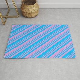 Deep Sky Blue & Plum Colored Lines/Stripes Pattern Rug