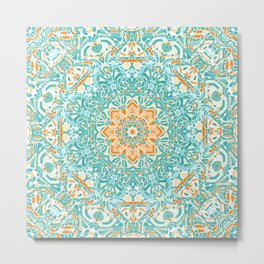 Orange and Turquoise Floral Mandala Metal Print