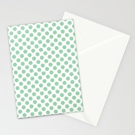Small Mint Green Polka Dots Stationery Cards