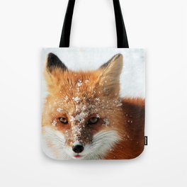 Snowy Faced Cheeky Fox with Tongue Out Tote Bag