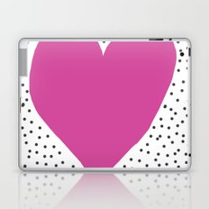 Pink heart with grey dots around Laptop & iPad Skin