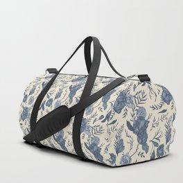 Blue Floral Pattern Duffle Bag