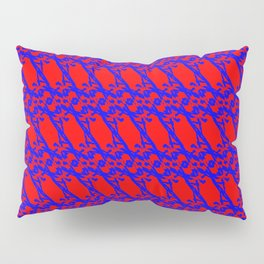Strict pattern of light white squiggles and red ropes on a monochrome background. Pillow Sham