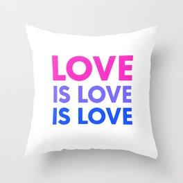 Love Is Love Is Love Bisexual Flag Bi Pride LGBT Humor Pun Design Cool Gift Throw Pillow