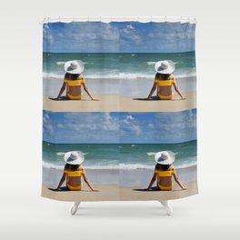 Female in yellow bikini wearing a white floppy hat sitting on ocean beach Shower Curtain