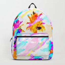 palm tree with colorful painting texture abstract background in pink blue yellow red Backpack
