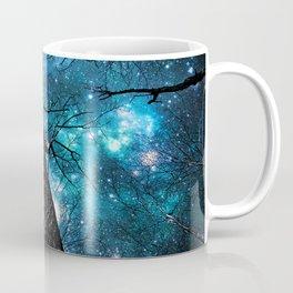 Wintry Trees Galaxy Skies Teal Blue Violet Coffee Mug