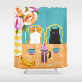 French Press Coffee Cats and Bananas Shower Curtain