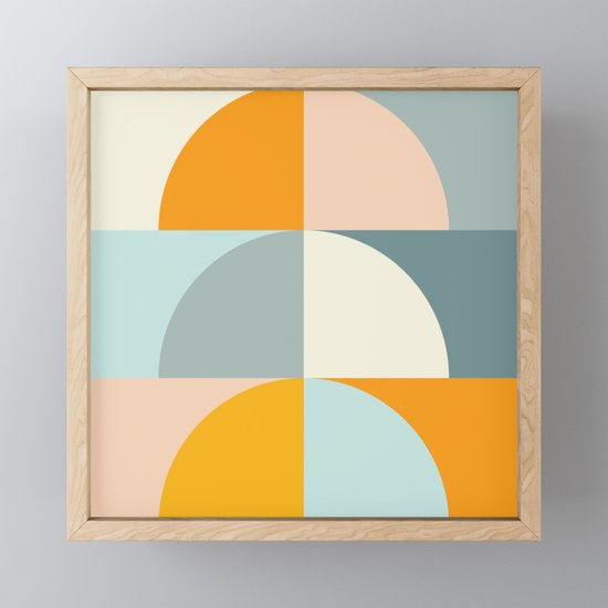 Summer Evening Geometric Shapes in Soft Blue and Orange by junejournal