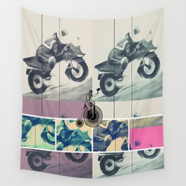 Painting, Illustration, Graphic Design, collage, motorbike Wall Tapestry