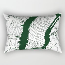 New York City White on Green Street Map Rectangular Pillow