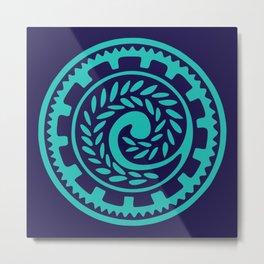 70s Retro Blue Geometric Floral Polynesian Tribal Mandala Metal Print
