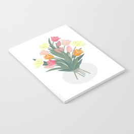 Bouquet of tulips in glass vase Notebook