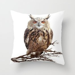 WILDERNESS BROWN OWL IN WHITE Throw Pillow