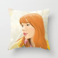lost in translation Throw Pillows featuring Lost In Translation - Charlotte by Tanita