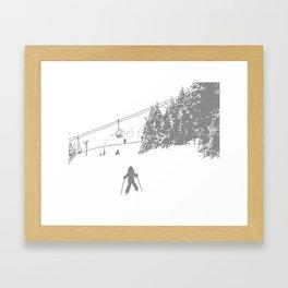 Little Skier - Grey Framed Art Print