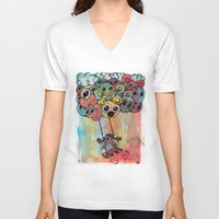 baloon V-neck T-shirts featuring baloon by Hugo Lucas