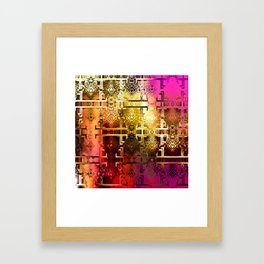 1001 Lights Pattern (gold-magenta-vermillion) Framed Art Print