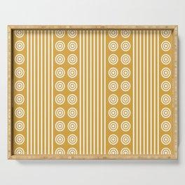 Geometric Golden Yellow & White Vertical Stripes & Circles Serving Tray