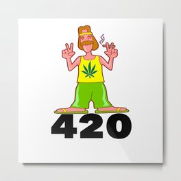 420 Hippy Smokin a Blunt Metal Print