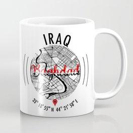 Baghdad, IRAQ Road Map Art - Earth Tones Coffee Mug