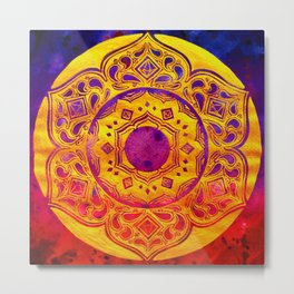 """SACRED GEOMETRY"" WATERCOLOR MANDALA (HAND PAINTED) BY ILSE QUEZADA Metal Print"